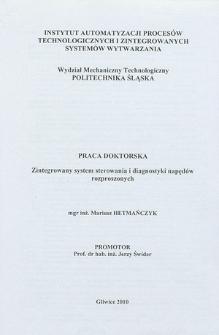 Recenzja rozprawy doktorskiej mgra inż. Mariusza Hetmańczyka pt. Zintegrowany system sterowania i diagnostyki napędów rozproszonych