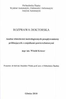 Recenzja rozprawy doktorskiej mgra inż. Witolda Krieser pt. Analiza właściwości metrologicznych przepływomierzy próbkujących z czujnikami powierzchniowymi