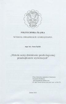 Recenzja rozprawy doktorskiej mgr inż. Anny Sędek pt. Metoda oceny działalności proekologicznej przedsiębiorstw wytwórczych