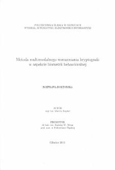 Recenzja rozprawy doktorskiej mgra inż. Marcina Bugdola pt. Metoda multimodalnego wzmacniania kryptografii w aspekcie biometrii behawioralnej
