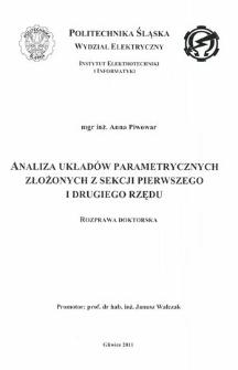 Recenzja rozprawy doktorskiej mgr inż. Anny Piwowar pt. Analiza układów parametrycznych złożonych z sekcji pierwszego i drugiego rzędu