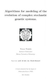 Recenzja rozprawy doktorskiej mgra inż. Tomasza Wojdyły pt. Algorithms for modeling of the evolution of complex stochastic genetic systems