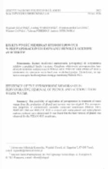 Efektywność membran hydrofobowych w perwaporacyjnym usuwaniu fenolu i acetonu ze ścieków