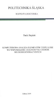 Komputerowa analiza elementów testu Łurii we wspomaganiu diagnostyki chorób neurodegeneracyjnych