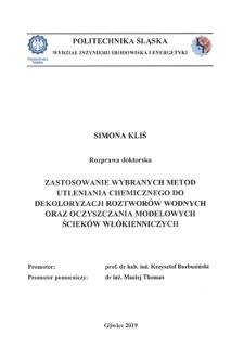 Zastosowanie wybranych metod utleniania chemicznego do dekoloryzacji roztworów wodnych oraz oczyszczania modelowych ścieków włókienniczych