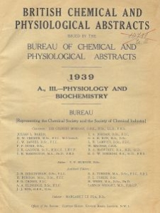 British Chemical and Physiological Abstracts. A. Pure Chemistry and Physiology. III. Physiology and Biochemistry, December