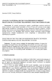Analiza natężenia ruchu pasażerskiego między miastami dla systemu transportu małymi samolotami