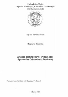 Recenzja rozprawy doktorskiej mgra inż. Stanisława Widła pt. Analiza architektury i wydajności Systemów Odpowiedzi Fonicznej