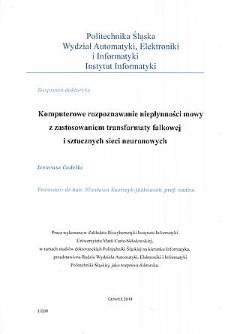Komputerowe rozpoznawanie niepłynności mowy z zastosowaniem transformaty falkowej i sztucznych sieci neuronowych