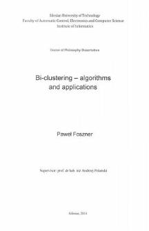 Bi-clustering - algorithms and applications