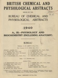 British Chemical and Physiological Abstracts. A. Pure Chemistry and Physiology. III. Physiology and Biochemistry (including Anatomy), Index of authors' names