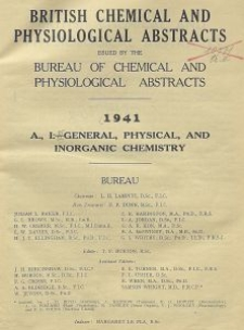British Chemical and Physiological Abstracts. A. Pure Chemistry and Physiology. I. General, Physical, and Inorganic Chemistry, January