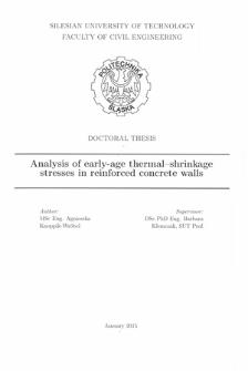 Recenzja rozprawy doktorskiej mgr inż. Agnieszki Knoppik-Wróbel pt. Analysis of early-age thermal-shrinkage stresses in reinforced concrete walls