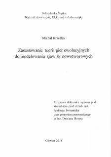 Recenzja rozprawy doktorskiej mgra inż. Michała Krześlaka pt. Zastosowanie teorii gier ewolucyjnych do modelowania zjawisk nowotworowych