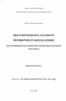 Multi-instrumental automatic recognition of musical genres
