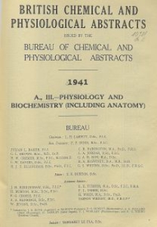 British Chemical and Physiological Abstracts. A. Pure Chemistry and Physiology. III. Physiology and Biochemistry (including Anatomy), September