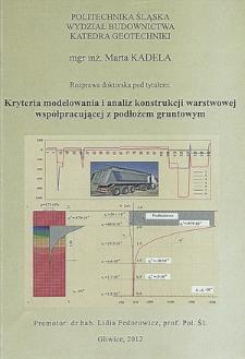 Kryteria modelowania i analiz konstrukcji warstwowych współpracujących z podłożem gruntowym