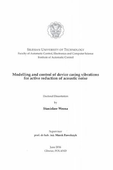 Modelling and control of device casing vibrations for active reduction of acoustic noise