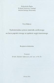 Recenzja rozprawy doktorskiej mgr inż. Ewy Makosz pt. Hydrotermalna synteza materiału zeolitowego na bazie popiołu lotnego ze spalania węgla kamiennego