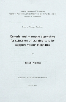 Recenzja rozprawy doktorskiej mgra inż. Jakuba Nalepy pt. Genetic and memetic algorithms for selection of training sets for support vector machines