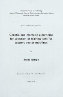 Recenzja rozprawy doktorskiej mgra inż. Jakuba Nalepy pt. Genetic and memetic algorithms for selection of training sets for support vector machines