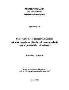 Opracowanie metod ozaczania mieszanin wybranych związków polifenolowych, wybranych leków oraz ich metabolitów i ich aplikacje