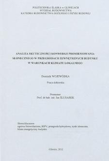 Recenzja rozprawy doktorskiej mgra inż. Dominika Wojewódki pt. Analiza skuteczności konwersji promieniowania słonecznego w przegrodach zewnętrznych budynku w warunkach klimatu lokalnego