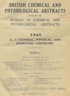 British Chemical and Physiological Abstracts. A. Pure Chemistry and Physiology. I. General, Physical, and Inorganic Chemistry, October