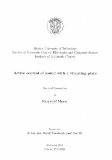 Recenzja rozprawy doktorskiej mgra inż. Krzysztof Mazur pt. Active control of sound with a vibrating plate