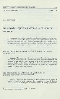 Własności języka zapytań a opis bazy danych