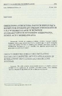 Obiektowa struktura danych emulująca komputer sterowany przepływem danych i jej wykorzystanie w budowie interakcyjnych systemów sterowania, symulacji i modelowania