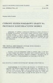 Cyfrowy system pomiarowy oparty na protokole komunikacyjnym MODBUS
