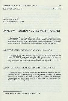 ANALSTAT - system analizy statystycznej