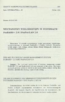 Mechanizmy wielodostępu w systemach FoxBASE+ 2.0 i FoxPro/LAN 2.0