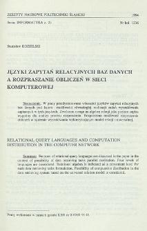 Języki zapytań relacyjnych baz danych a rozpraszanie obliczeń w sieci komputerowej