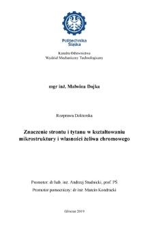 Recenzja rozprawy doktorskiej mgr inż. Malwiny Dojki pt. Znaczenie strontu i tytanu w kształtowaniu mikrostruktury i własności żeliwa chromowego