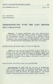Mikrokomputer WYSE 7000i jako serwer sieci lokalnych