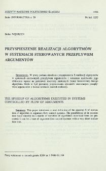 Przyspieszenie realizacji algorytmów w systemach sterowanych przepływem argumentów