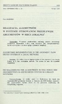 Realizacja algorytmów w systemie sterowanym przepływem argumentów w sieci lokalnej