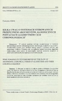 Kilka uwag o systemach sterowanych przepływem argumentów, kanonicznych postaciach algorytmów i ich chronologizacji