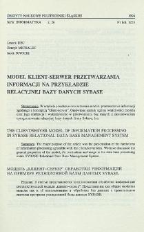 Model klient-serwer przetwarzania informacji na przykładzie relacyjnej bazy danych Sybase