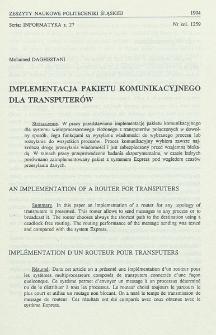 Implementacja pakietu komunikacyjnego dla transputerów
