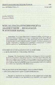 Wizualizacja synchroniczna algorytmów - realizacja w systemie SANAL