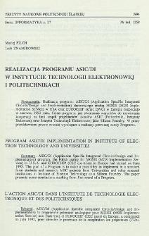 Realizacja programu ASIC/DI w Instytucie Technologii Elektronowej i Politechnikach