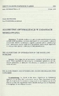 Algorytmy optymalizacji w zadaniach modelowania