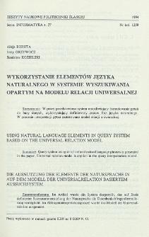 Wykorzystanie elementów języka naturalnego w systemie wyszukiwania opartym na modelu relacji uniwersalnej
