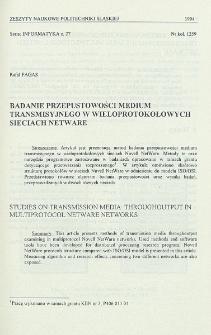Badanie przepustowości medium transmisyjnego w wieloprotokołowych sieciach NetWare