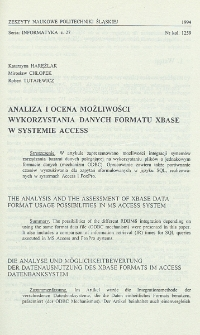 Analiza i ocena możliwości wykorzystania danych formatu xBase w systemie Access