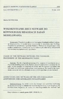 Wykorzystanie sieci NetWare do równoległej realizacji zadań modelowania