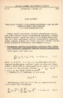Wyznaczanie wartości początkowych pochodnych całek układów liniowych równań różniczkowych o stałych współczynnikach
